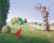 Landschap met rode vogel